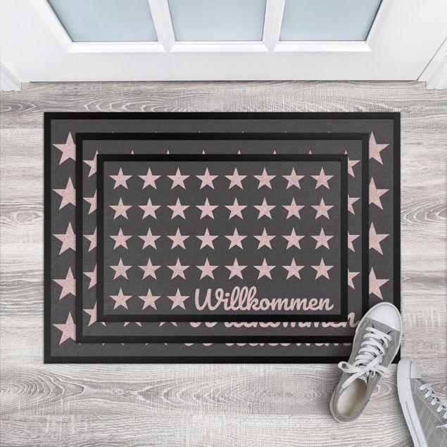 Produktfoto Fußmatte - Willkommen Sterne anthrazit rosé
