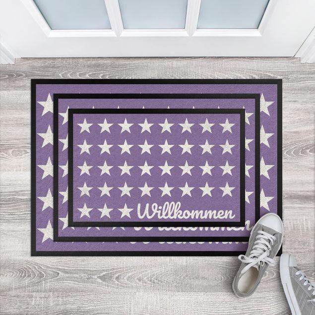 Produktfoto Fußmatte - Willkommen Sterne flieder