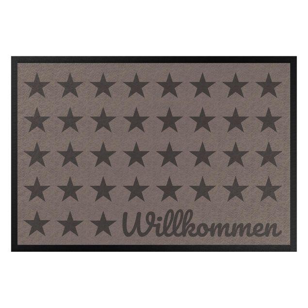 Produktfoto Fußmatte - Willkommen Sterne graubraun