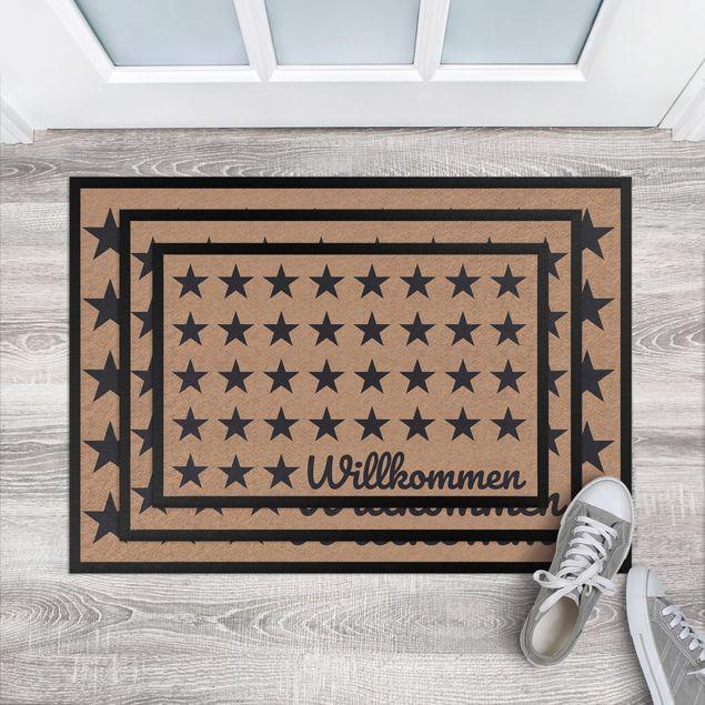 Produktfoto Fußmatte - Willkommen Sterne khaki dunkelgrau