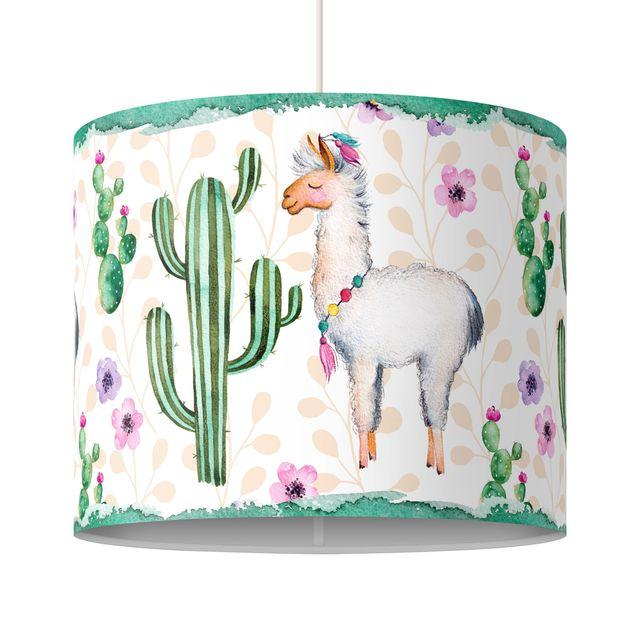 Produktfoto Pendelleuchte - Lama und Kakteen Aquarell - Lampenschirm