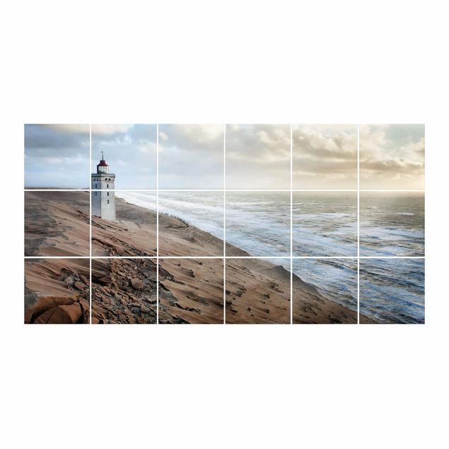 Produktfoto Fliesenbild - Leuchtturm in Dänemark - Fliesensticker Set Querformat
