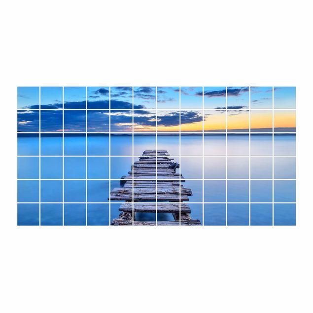 Produktfoto Fliesenbild - Steg ins ruhige Meer - Fliesensticker Set Querformat