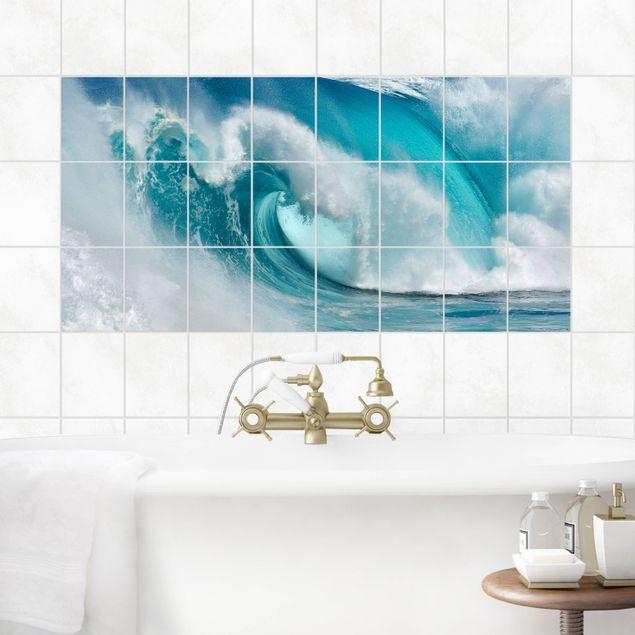 Produktfoto Fliesenbild - Tosende Wellen - Fliesensticker Set Querformat