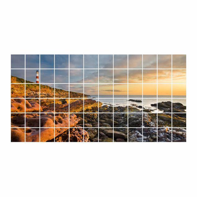 Produktfoto Fliesenbild - Tarbat Ness Meer & Leuchtturm bei Sonnenuntergang - Fliesensticker Set Querformat