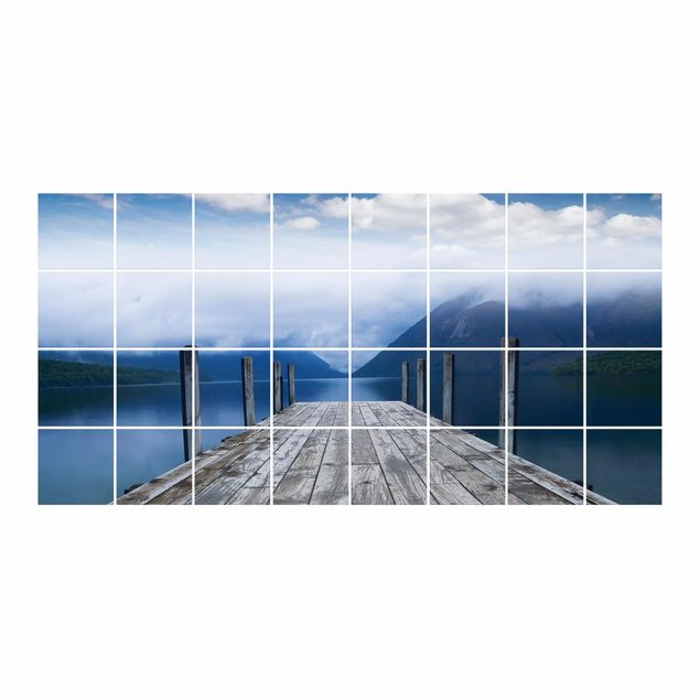 Produktfoto Fliesenbild - Nelson Lakes National Park Neuseeland - Fliesensticker Set Querformat