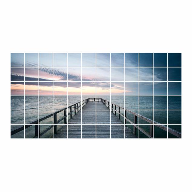 Produktfoto Fliesenbild - Steg Promenade - Fliesensticker Set Querformat