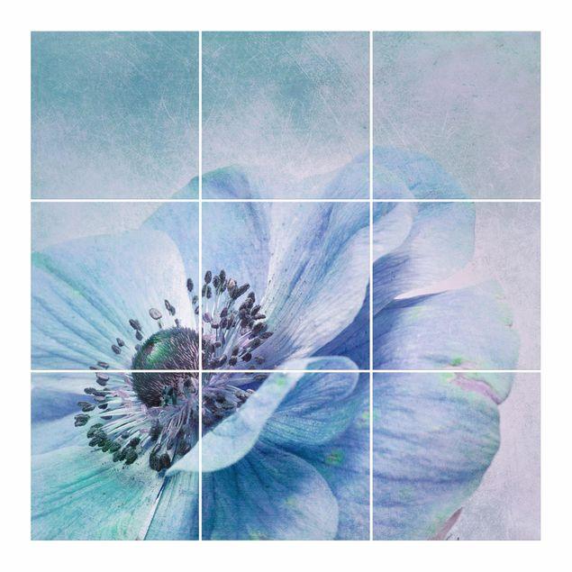 Produktfoto Fliesenbild - Blüte in Türkis - Fliesensticker Set quadratisch