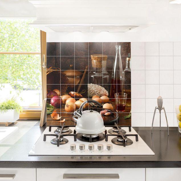 Produktfoto Fliesenbild - Düfte beim Kochen - Fliesensticker Set quadratisch