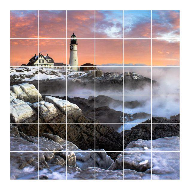 Produktfoto Fliesenbild - Leuchtturm im Eis -...