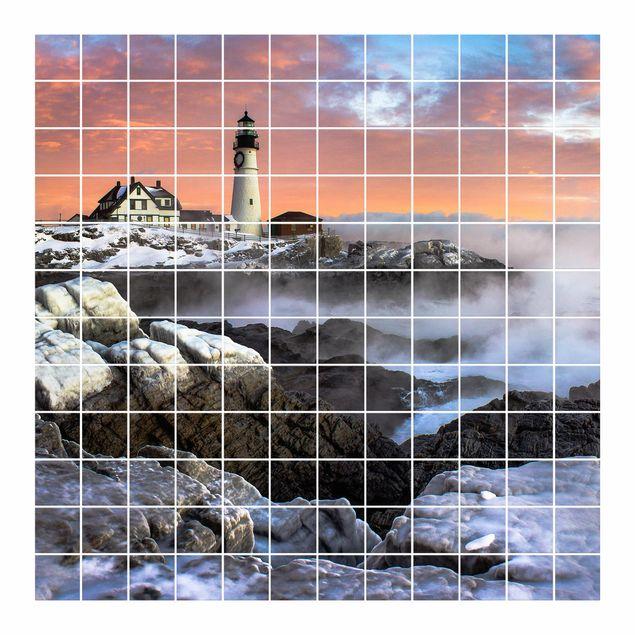 Produktfoto Fliesenbild - Leuchtturm im Eis - Fliesensticker Set quadratisch