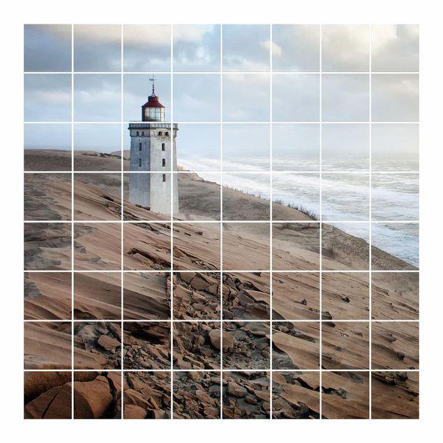 Produktfoto Fliesenbild - Leuchtturm in Dänemark - Fliesensticker Set quadratisch