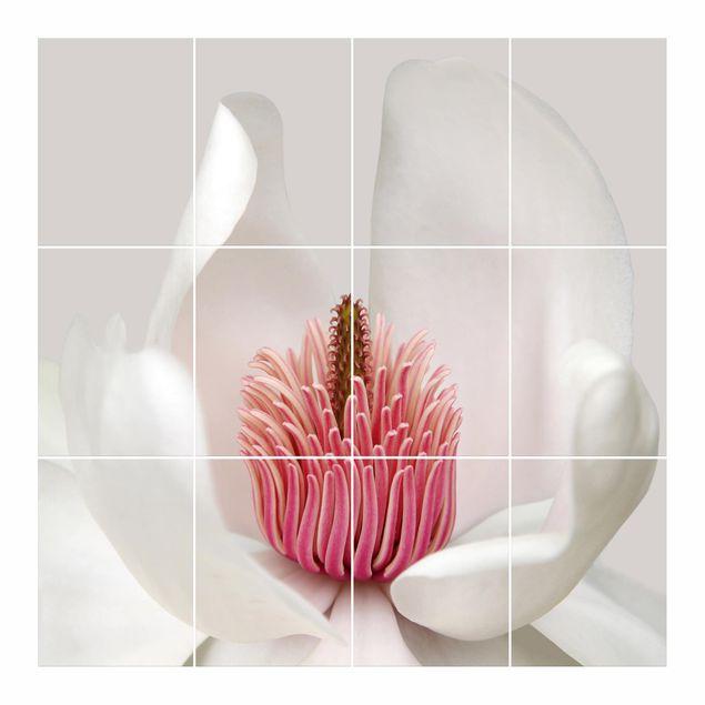 Produktfoto Fliesenbild - Magnolie in Pink - Fliesensticker Set quadratisch