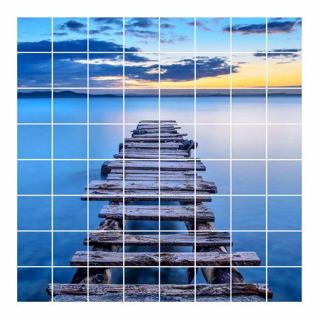Produktfoto Fliesenbild - Steg ins ruhige Meer - Fliesensticker Set quadratisch