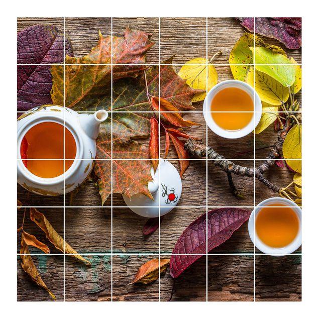 Produktfoto Fliesenbild - Tee im September - Fliesensticker Set quadratisch