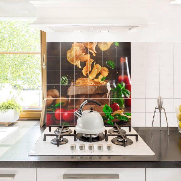 Produktfoto Fliesenbild - Tomate-Basilikum-Snack - Fliesensticker Set quadratisch