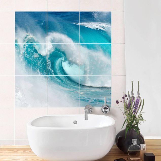 Produktfoto Fliesenbild - Tosende Wellen - Fliesensticker Set quadratisch