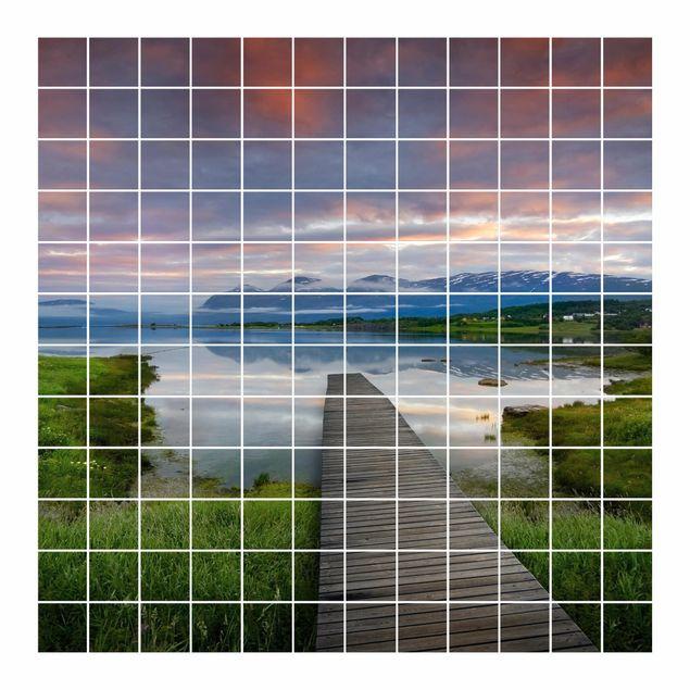 Produktfoto Fliesenbild - Norwegische Idylle - Fliesensticker Set quadratisch