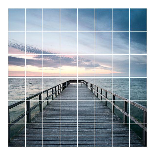 Produktfoto Fliesenbild - Steg Promenade - Fliesensticker Set quadratisch