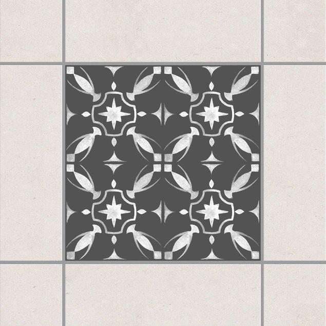 Produktfoto Fliesenaufkleber - Dunkelgrau Weiß Muster Serie No.01 - 10cm x 10cm Fliesensticker Set