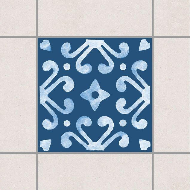 Produktfoto Fliesenaufkleber - Muster Dunkelblau Weiß Serie No.7 - 10cm x 10cm Fliesensticker Set