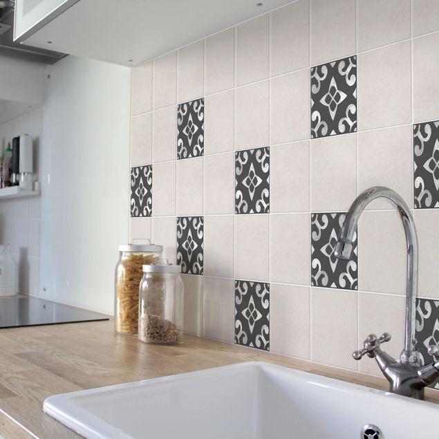 Produktfoto Fliesenaufkleber - Muster Dunkelgrau Weiß Serie No.05 - 10cm x 10cm Fliesensticker Set