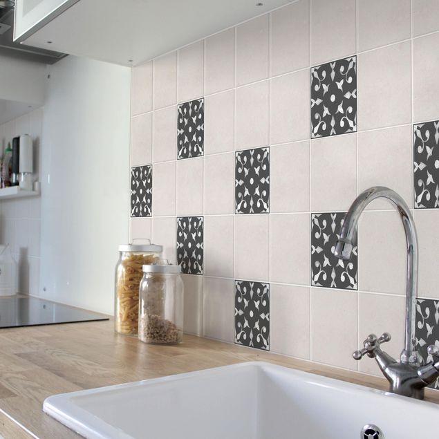 Produktfoto Fliesenaufkleber - Muster Dunkelgrau Weiß Serie No.06 - 10cm x 10cm Fliesensticker Set