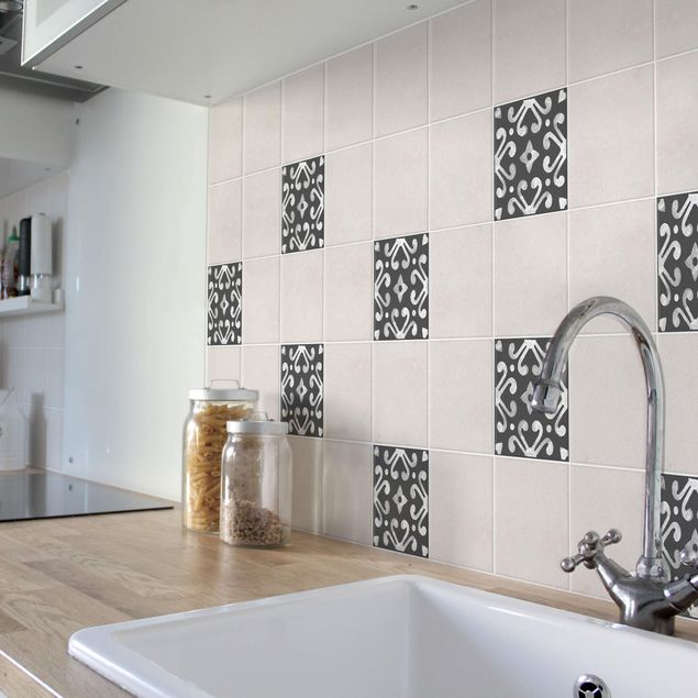Produktfoto Fliesenaufkleber - Muster Dunkelgrau Weiß Serie No.07 - 10cm x 10cm Fliesensticker Set