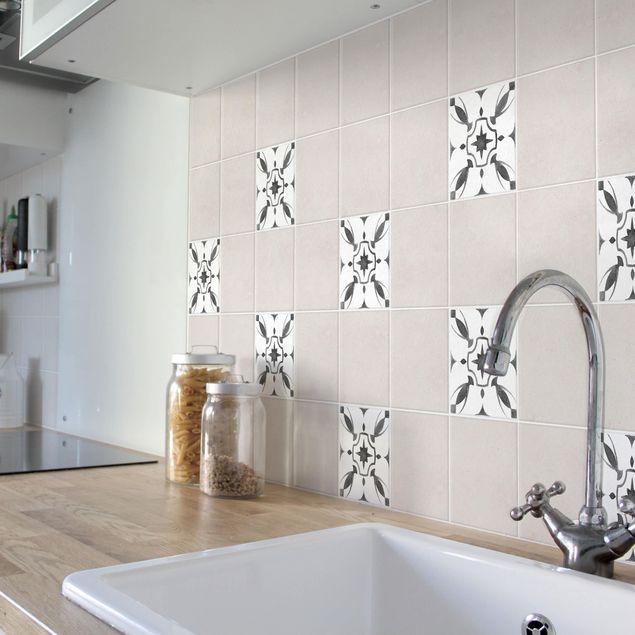 Produktfoto Fliesenaufkleber - Muster Grau Weiß Serie No.1 - 10cm x 10cm Fliesensticker Set