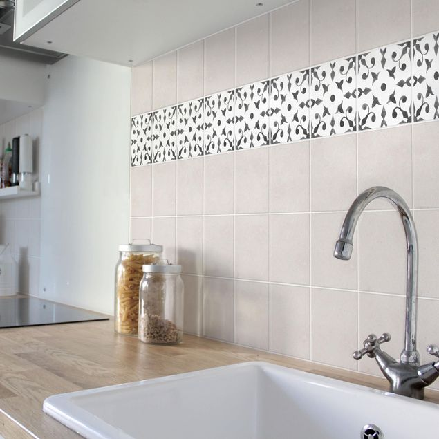 Produktfoto Fliesenaufkleber - Muster Grau Weiß Serie No.6 - 10cm x 10cm Fliesensticker Set