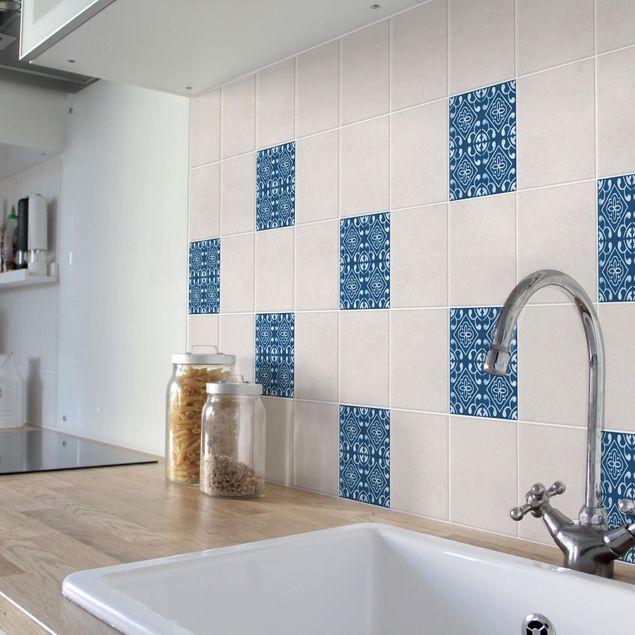 Produktfoto Fliesenaufkleber - Dunkelblau Weiß Muster Serie No.02 - 15cm x 15cm Fliesensticker Set