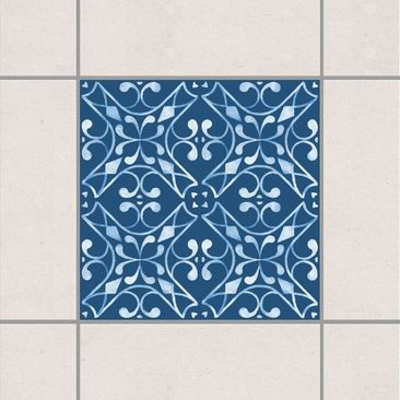 Produktfoto Fliesenaufkleber - Dunkelblau Weiß Muster Serie No.03 - 15cm x 15cm Fliesensticker Set