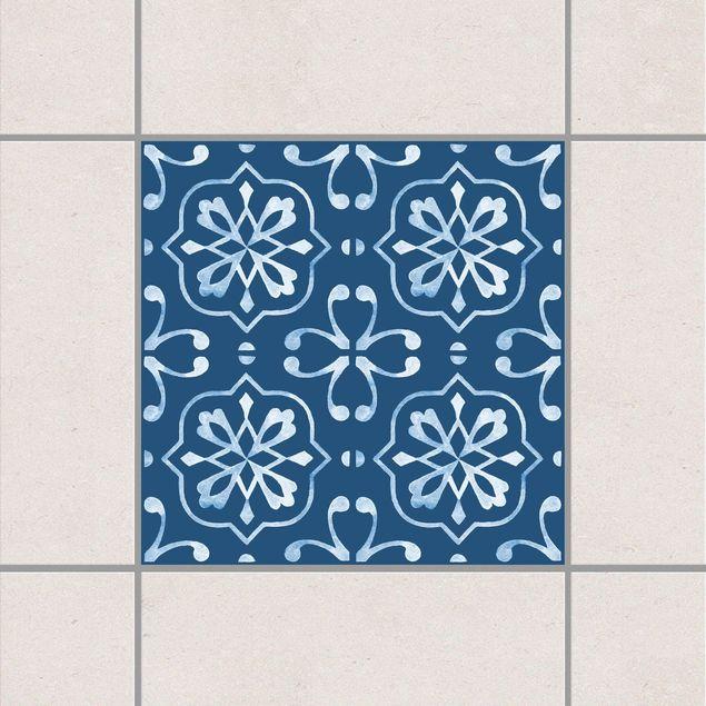 Produktfoto Fliesenaufkleber - Dunkelblau Weiß Muster Serie No.04 - 15cm x 15cm Fliesensticker Set