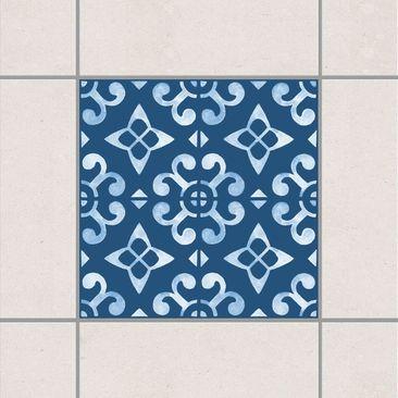 Produktfoto Fliesenaufkleber - Dunkelblau Weiß Muster Serie No.05 - 15cm x 15cm Fliesensticker Set