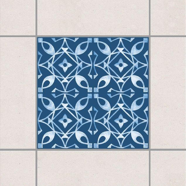 Produktfoto Fliesenaufkleber - Dunkelblau Weiß Muster Serie No.08 - 15cm x 15cm Fliesensticker Set