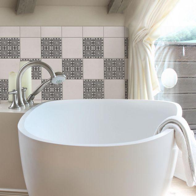 Produktfoto Fliesenaufkleber - Dunkelgrau Weiß Muster Serie No.02 - 15cm x 15cm Fliesensticker Set