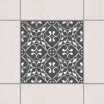 Produktfoto Fliesenaufkleber - Dunkelgrau Weiß Muster Serie No.03 - 15cm x 15cm Fliesensticker Set