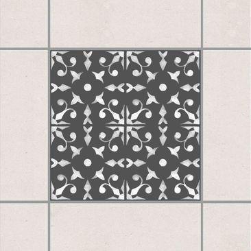 Produktfoto Fliesenaufkleber - Dunkelgrau Weiß Muster Serie No.06 - 15cm x 15cm Fliesensticker Set