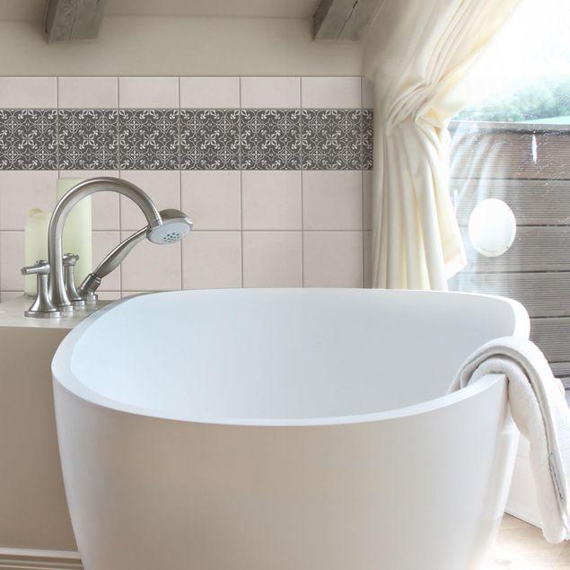 Produktfoto Fliesenaufkleber - Dunkelgrau Weiß Muster Serie No.09 - 15cm x 15cm Fliesensticker Set