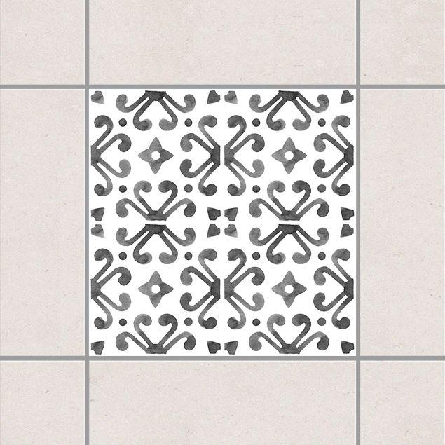 Produktfoto Fliesenaufkleber - Grau Weiß Muster Serie No.7 - 15cm x 15cm Fliesensticker Set