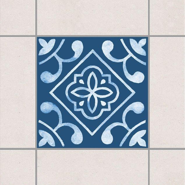 Produktfoto Fliesenaufkleber - Muster Dunkelblau Weiß Serie No.2 - 15cm x 15cm Fliesensticker Set