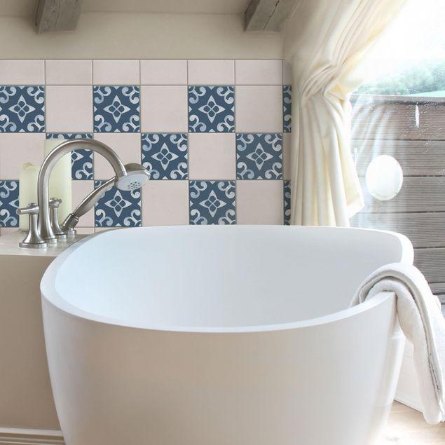 Produktfoto Fliesenaufkleber - Muster Dunkelblau Weiß Serie No.5 - 15cm x 15cm Fliesensticker Set