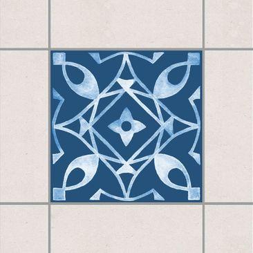 Produktfoto Fliesenaufkleber - Muster Dunkelblau Weiß Serie No.8 - 15cm x 15cm Fliesensticker Set