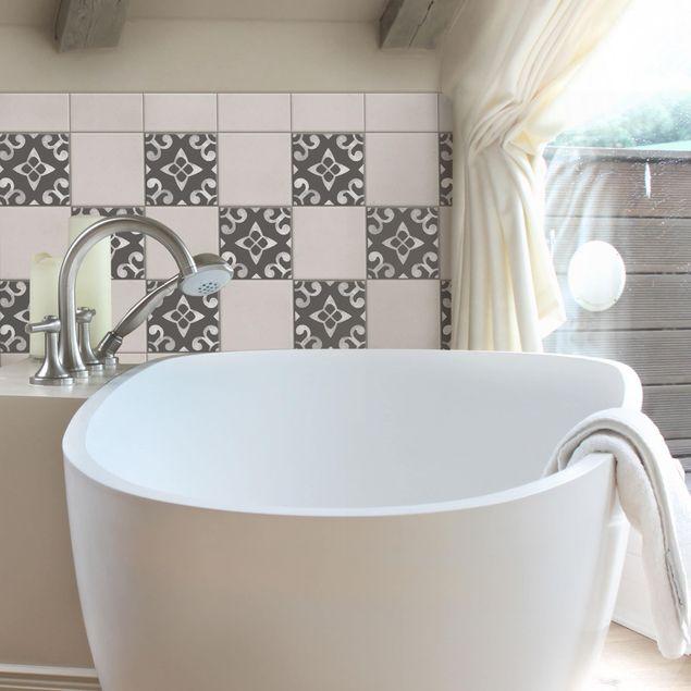 Produktfoto Fliesenaufkleber - Muster Dunkelgrau Weiß Serie No.05 - 15cm x 15cm Fliesensticker Set