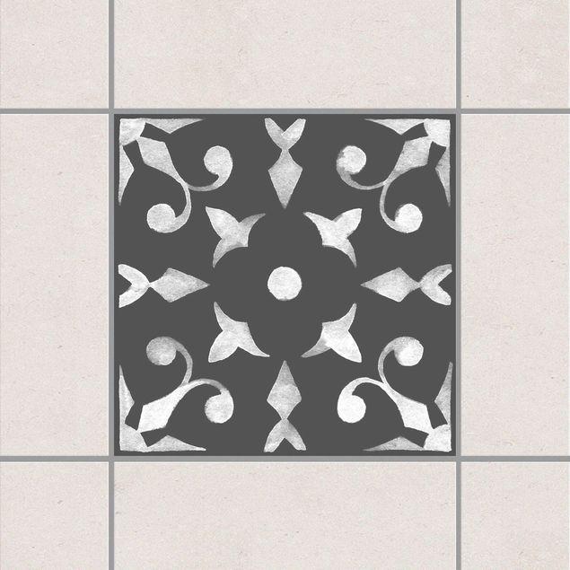 Produktfoto Fliesenaufkleber - Muster Dunkelgrau Weiß Serie No.06 - 15cm x 15cm Fliesensticker Set