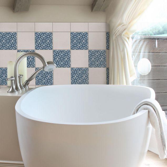 Produktfoto Fliesenaufkleber - Dunkelblau Weiß Muster Serie No.07 - 20cm x 20cm Fliesensticker Set