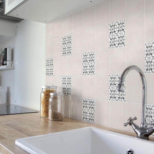 Produktfoto Fliesenaufkleber - Grau Weiß Muster Serie No.8 - 20cm x 20cm Fliesensticker Set