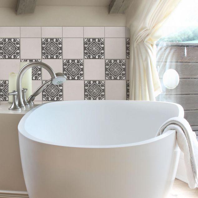 Produktfoto Fliesenaufkleber - Muster Dunkelgrau Weiß Serie No.02 - 20cm x 20cm Fliesensticker Set