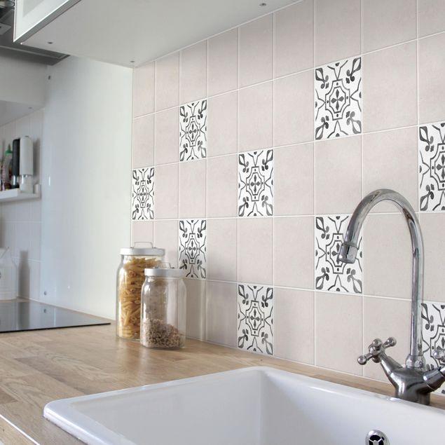 Produktfoto Fliesenaufkleber - Muster Grau Weiß Serie No.9 - 20cm x 20cm Fliesensticker Set