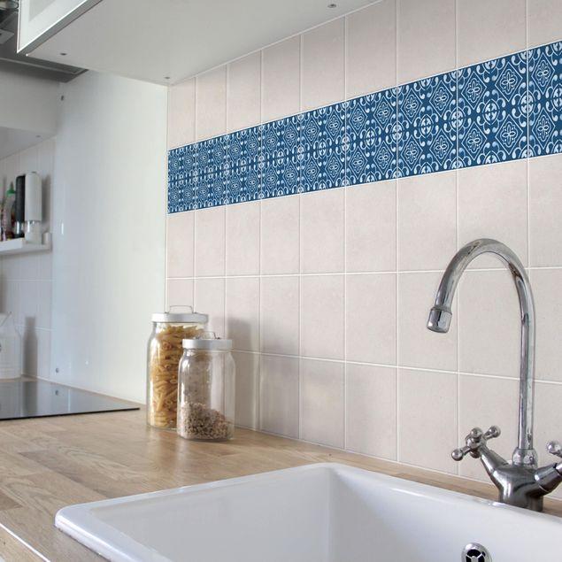 Produktfoto Fliesen Bordüre - Dunkelblau Weiß Muster Serie No.02 - 10cm x 10cm Fliesensticker Set